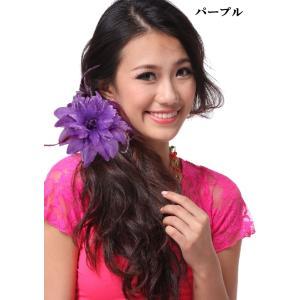スペイン製 フラメンコ 大輪バラコサージュ 水玉 葉っぱ付き フラメンコ衣装にぴったり 髪飾り ヘアアクセサリーミカドレス sky2-k|mika