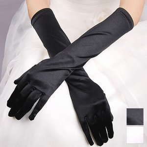 指先から45センチ ロング グローブ 手袋  シンプル 黒 白 パーティードレス 結婚式  フォーマル 謝恩会 発表会 演奏会 舞台 ステージ ミカドレス 5815-3 mika