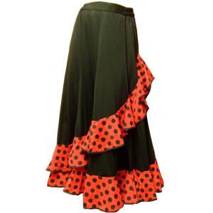 フラメンコ衣装 セール スカート 水玉  赤×黒 ドット ダンス衣装 ミカドレス 定2裾 6603-7