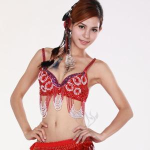 (豪華ブラトップ2080円)ベリーダンス衣装 ブラトップ 赤 レッド豪華なデコブラがこの価格 ミカドレス cy127|mika