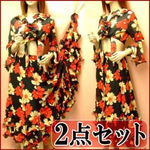 【在庫限り】トップスとスカートセットのツーピース セットアップ シックな花柄 黒×赤 ダンス衣装,フラメンコ衣装 ミカドレス seth|mika
