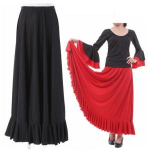 (スペイン製)ドレープフリル フラメンコ 衣装 スカート 黒 ペチコートにも ダンス衣装 フラメンコ衣装  フォーマル カラオケ ファルダ ミカドレス sfy19-800fe|mika