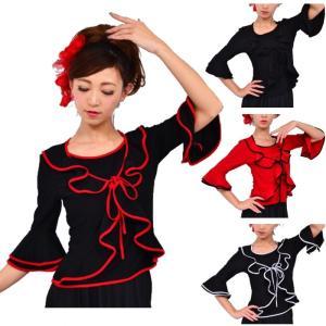 フラメンコ衣装 社交ダンス パソドブレ ダンス衣装 ブラウス 2枚重ね風のブラウス 黒系 赤系 トップス 練習着 レッスンウェア セール 用品 通販 ミカドレス t15