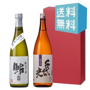 お中元 御中元 プレゼント ギフト 日本酒 鮎正宗 銀ラベル・千代の光 純米 720ml 2本セット|mikami-saketen