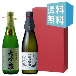 お中元 御中元 プレゼント ギフト 日本酒 越乃寒梅 超特撰・千代の光 大吟醸 720ml 2本セット|mikami-saketen