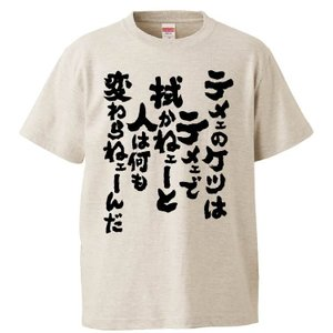 おもしろTシャツ テメェのケツはテメェで拭かねェーと人は何も変わらねェーんだ ギフト プレゼント 面白 メンズ 半袖 漢字 雑貨 名言 パロディ 文字の画像