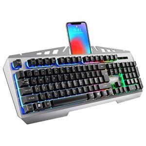 ゲーミングキーボード USBキーボード 7色RGBバックライト メカニカル触感 防水防塵 消音設計 ...