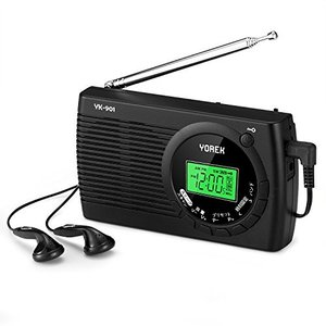 YOREK AM/FM/SW ワイドFM対応ポータブルラジオ 高感度受信クロックラジオ 電池式ラジオ...