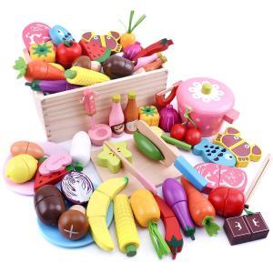 おままごとセット キッチン 木製 おままごと マグネット おもちゃ 100%天然素材 野菜 果物 お肉 知育玩具 収納箱付き 学生 子供 赤 mikannnnnn