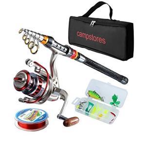 釣りセット 初心者 釣り竿セット ルアーセット カーボン製 ロッド スピニングリール 投げ釣り コンパクトロッド 釣り具 コンパクト リール|mikannnnnn