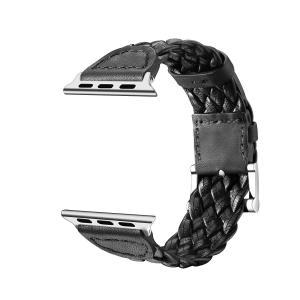 アップルウォッチ/Apple watch用交換バンド 本革編み込み 38mm(40mm)/42mm(44mm) 全3色 (42mm/44mm|mikannnnnn