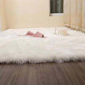 Chinaface  マット 床暖房対応 ラグ ふんわり柔らかいパッド シャギー敷物のベッドルームラグマット 絨毯  (50 * 80cm)|mikannnnnn