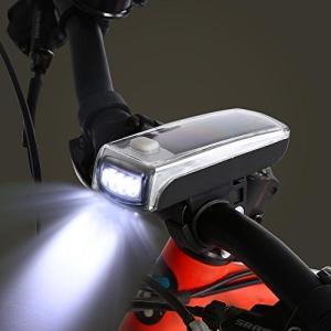 自転車ソーラー充電ライト 自転車ライト 自転車ヘッドライト 4LED 3つモード搭載 高輝度 ソーラー充電 USB充電式 取り付け簡単 防水|mikannnnnn