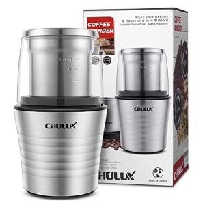 CHULUX コーヒーミル 電動コーヒーミル 電動ミル PSEマーク取済 10秒急速挽く カップ取外して水洗い可 SS304材質 コーヒーグ|mikannnnnn