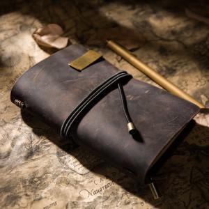 IPBENレザージャーナル+銅ペン、 - バンドルコード - 毎日の使用とトラベラーズノート (ダークブラウン (Dark Brown),|mikannnnnn