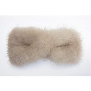 美人髪 バレッタ ミンクファー リボン型 やや大きめで、とても使いやすい ベージュ|mikannnnnn