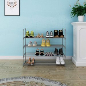 Home-Like シューズラック4段 玄関収納 靴棚 組み立て式 靴箱 下駄箱 シューズボックス スリム 小物 ブーツ収納 軽量 省スペー|mikannnnnn