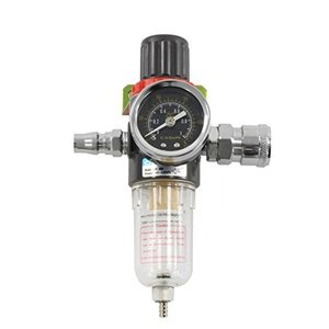 圧縮調節と水分除去にレギュレーター付きエアーフィルター1/4オスメスカプラー各1個付