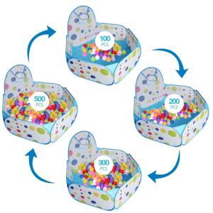 XBL ボールプール 子供用 ボールハウス プレイハウス 屋内遊具 知育玩具 おもちゃ ミニゴール付き 折りたたみ式 収納バッグ付き (ブル mikannnnnn