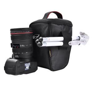 FOSOTO ショルダーカメラバッグ Canon Nikon Sony用 PUレザー (ブラック)|mikannnnnn