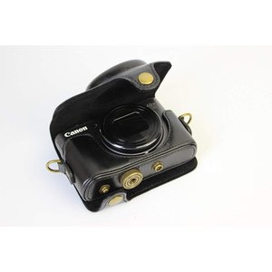 Canon PowerShot SX740 HS 専用 高級合皮レザー カメラケース ネックストラップ,クリーニングクロス付き キャノン 2|mikannnnnn