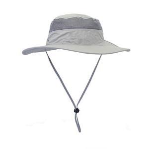 サファリハット UPF50+ 帽子 UV カット 率 99.9%以上 つば広 アウトドア 日焼け防止 防水 折りたたみ ひも付き ユニセック|mikannnnnn