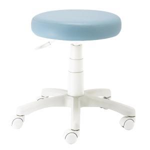 ナカバヤシ 丸椅子 キャスター付き ラウンドチェア ホワイト脚 ブルー RZR-103WBL|mikannnnnn