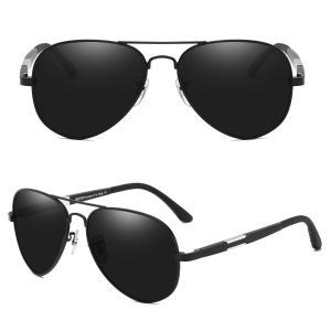 DUCO メンズ サングラス UV400 偏光サングラス ブラック アビエーター ティアドロップ サ...