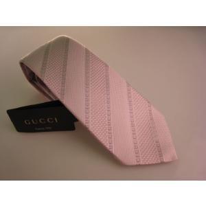 GUCCI  グッチ ネクタイ 斜め柄 淡いピンク系 4B002 5900|mikawatk