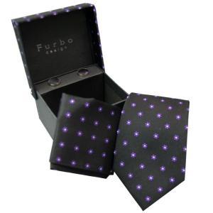 Furbo  ネクタイ カフス  チーフ 3点 セット    lq3467tf ブラック×パープル系|mikawatk