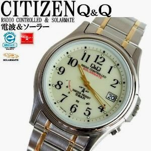 シチズン製 ソーラー&電波機能付 男性用腕時計.  シチズンQ&Q qq solar203|mikawatk