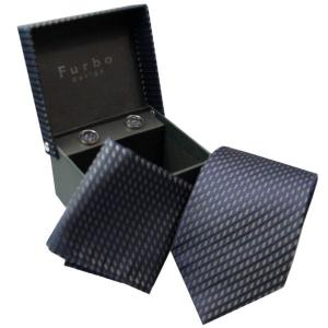 Furbo  ネクタイ カフス  チーフ 3点 セット    tjd31344t1 黒 系|mikawatk