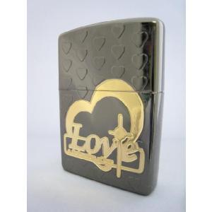 Zippo LOVEハートシリーズ ブラックミラー|mikawatk