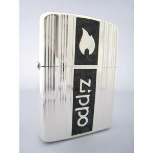 Zippo シルバー ダイヤカットライン ブラック・エポ|mikawatk