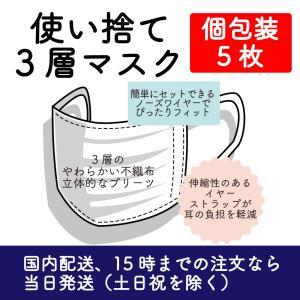 使い捨て3層マスク 個包装 5枚  3セットまで送料は一緒です|mikawaya-chana