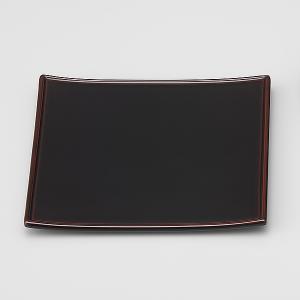 輪島塗 銘々皿 無地 角型 溜 1枚 (漆器)|miki-holz