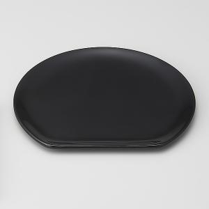 輪島塗 銘々皿 無地 半月型 黒 1枚 (漆器)|miki-holz