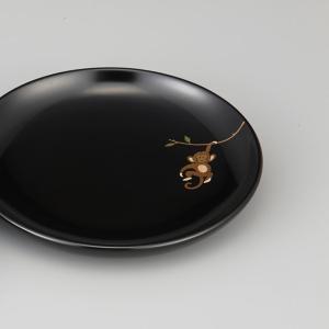 輪島塗 銘々皿 干支 申蒔絵 黒 〔5寸丸〕 1枚 紙箱入|miki-holz