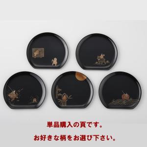 輪島塗 銘々皿 日本昔話 蒔絵 半月型 1枚 (漆器)|miki-holz