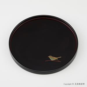 輪島塗 丸盆 8.5寸 干支・うぐいす蒔絵 外黒内溜|miki-holz