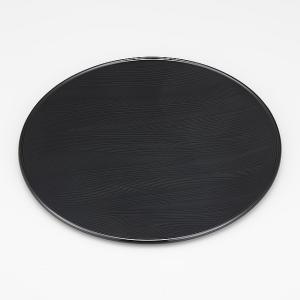 輪島塗 点心盆 丸 黒 波 素彫り 1枚 (漆器) miki-holz