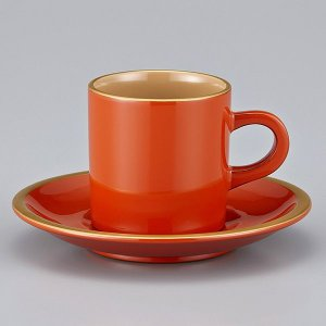 輪島塗 コーヒーカップ 還暦祝い 金縁蒔絵 洗朱内白 漆塗りスプーン付 紙箱入|miki-holz