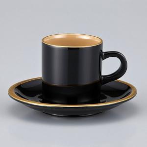 輪島塗 コーヒーカップ 還暦祝い 金縁蒔絵 外黒内白 漆塗りスプーン付 紙箱入|miki-holz