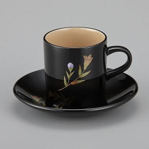 輪島塗 コーヒーカップ 還暦祝い 桔梗蒔絵 外黒内白 漆塗りスプーン付|miki-holz