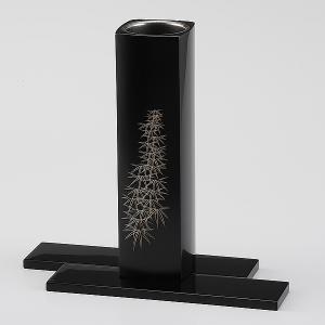 輪島塗  花器 竹沈金 角型 桐箱入り (漆器・花瓶)|miki-holz