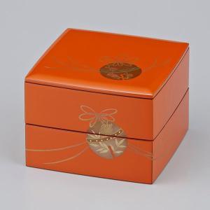 輪島塗 重箱 小重二段 (5寸隅立胴張形) 外洗朱内黒 鈴蒔絵|miki-holz