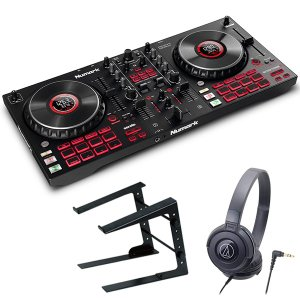 Numark ヌマーク Serato DJ対応 4デッキ DJコントローラー Mixtrack Platinum FX + ヘッドホン + ラップトップスタンド セット|mikigakki