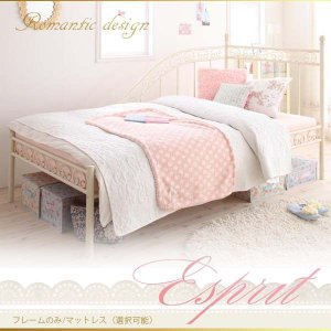 ロマンティック姫系アイアンベッド シングルベッドのみ 憧れの姫系シングルベッド マットレスの有無選択 シングルベッドのみ 姫系 お姫様ベッド 送料無料|mikitty