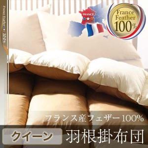 フランス産フェザー100%羽根掛布団 クイーン 掛け布団 掛布団 羽根布団 フェザー100% フランス産フェザー 寝具 送料無料|mikitty