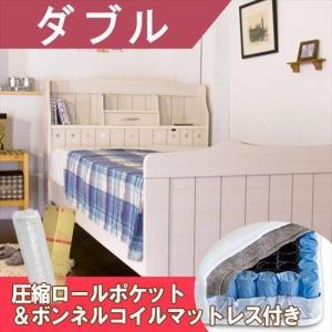 棚・枕元照明・小引き出し・一口コンセントが付いたカントリー調のお姫様ベッドです。ベッド用スプリングと...